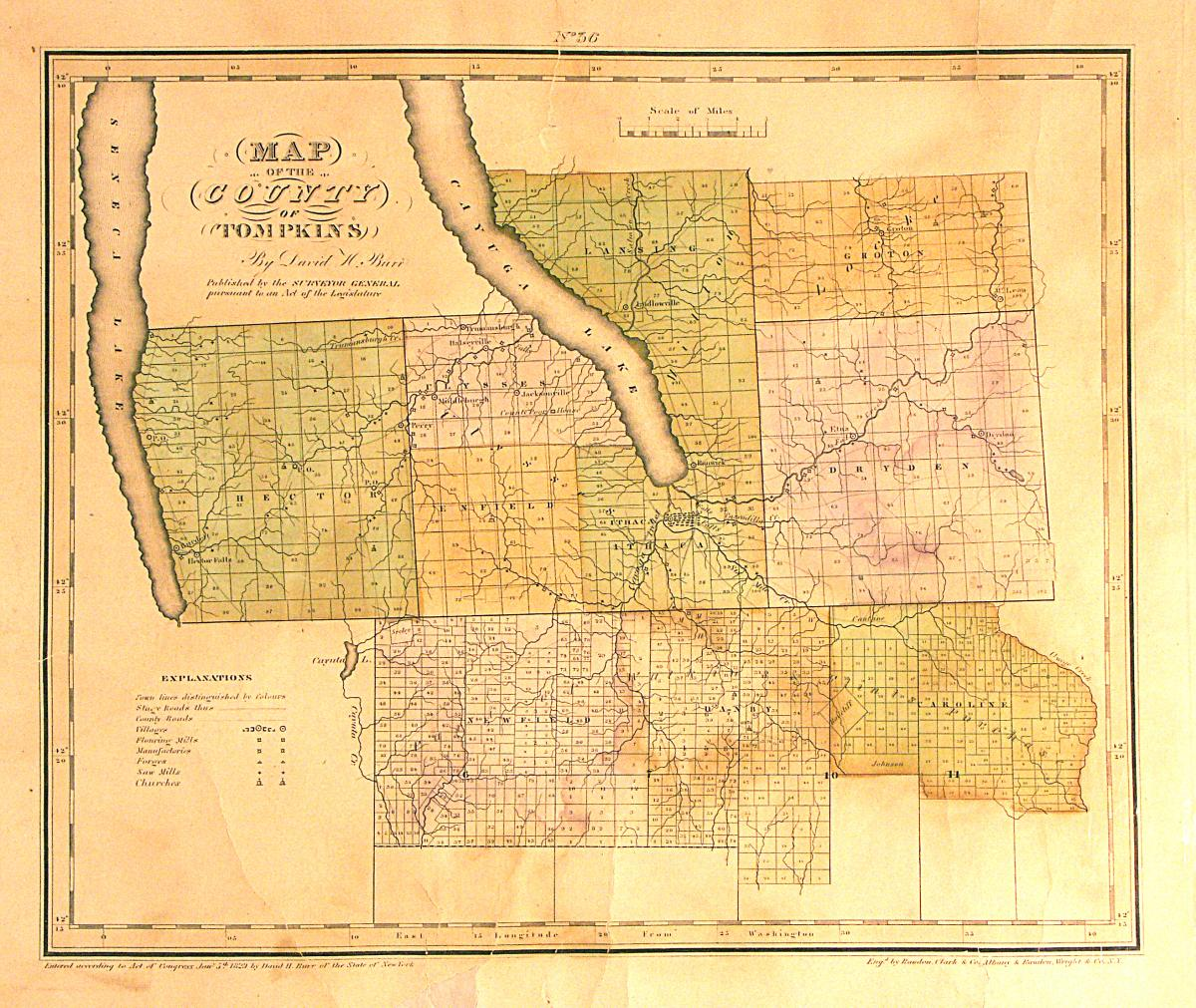 Map of Tompkins County 1829