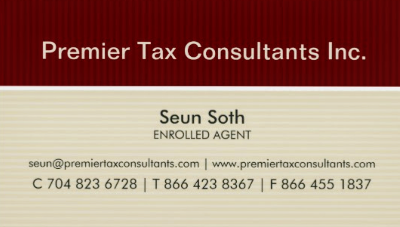 Premier Tax Consultants Business Card