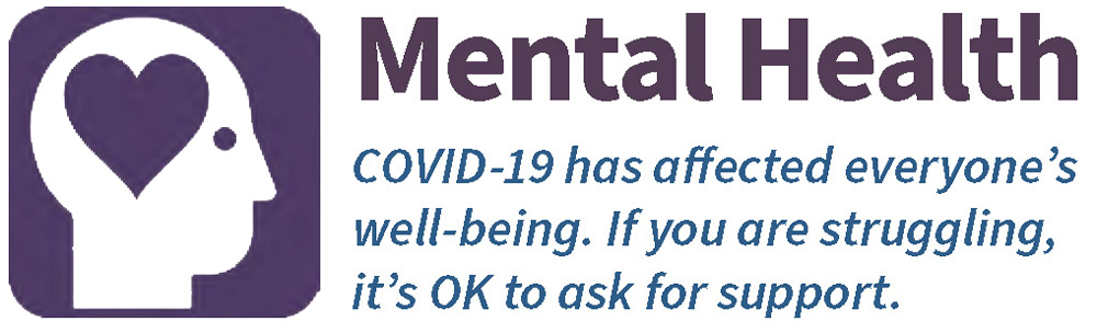 Menta Health--COVID-19 affects everyone's well-being. If you are struggling, it's OK to ask fro support