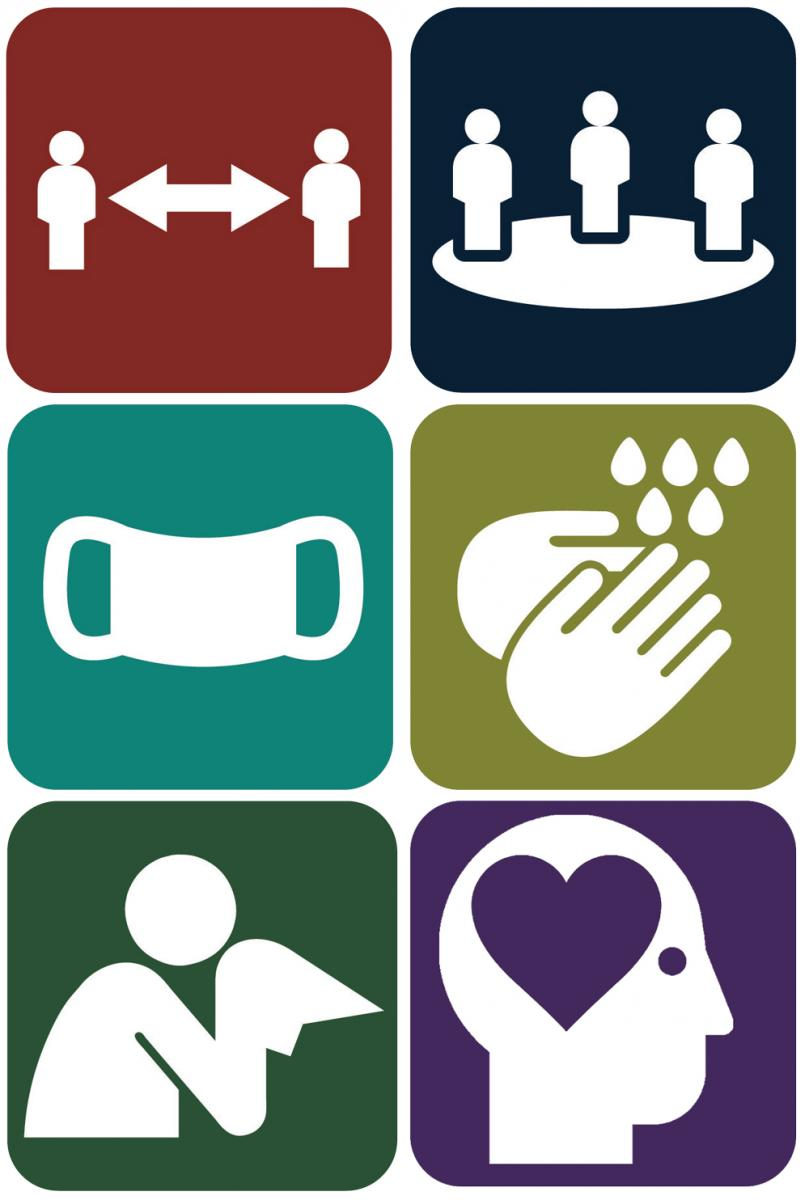 All health and safety icons together--Distance, Density, Face cover, Hand hygiene, Symptoms, Mental health