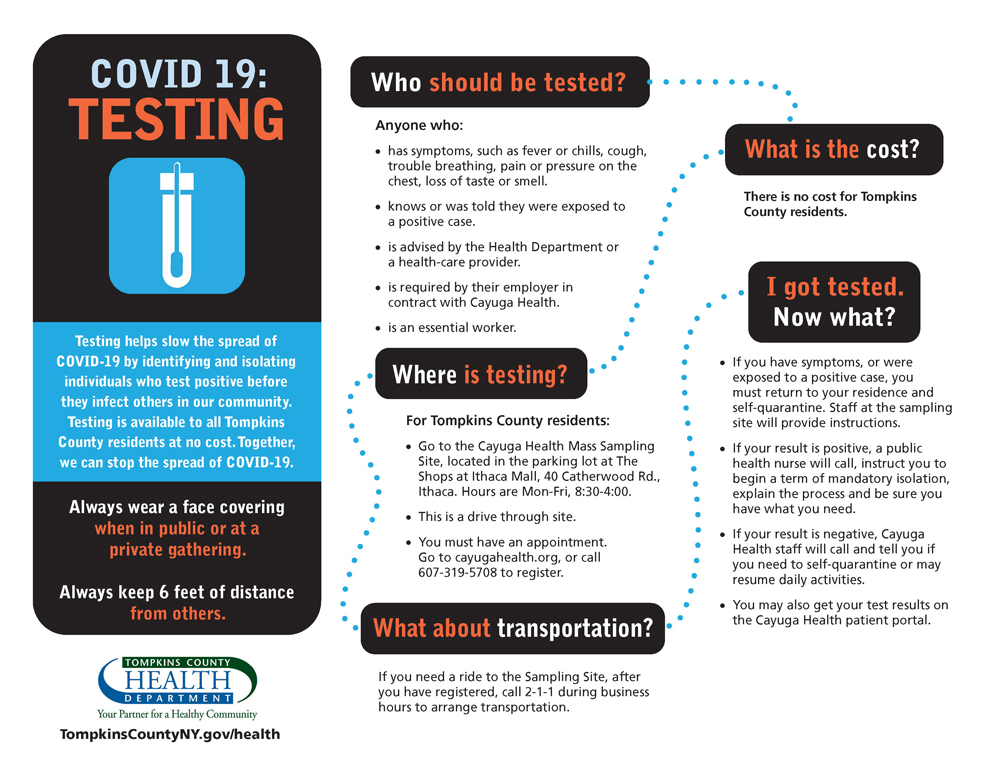 Image of a flyer that promotes testing for COVID-19