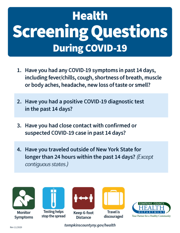 Image of a poster with 4 screening questions
