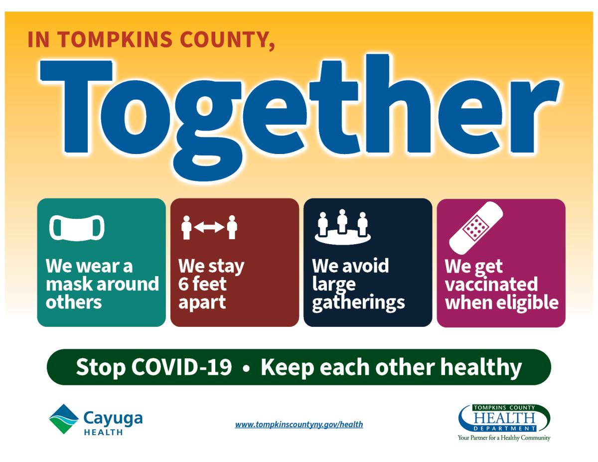 In Tompkins County, Together We wear a mask, stay apart, avoid gatherings, get vaccinated -- image of a flyer
