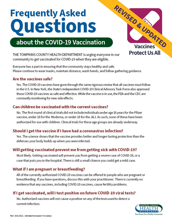 Image of flyer -- Vaccination Frequently Asked Questions FAQ pg1
