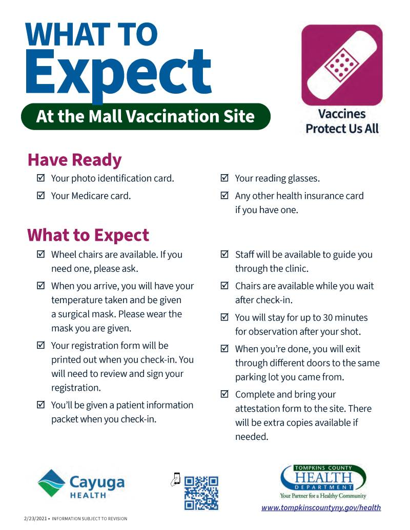 What to expect at the mall vaccination site -- image of a flyer