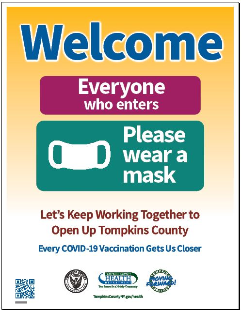 Welcome Everyone Please Wear a Mask -- image of a flyer