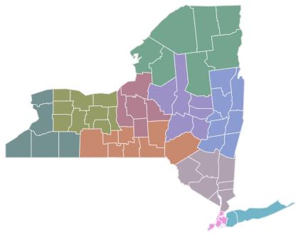 NYS map showing economic development regions