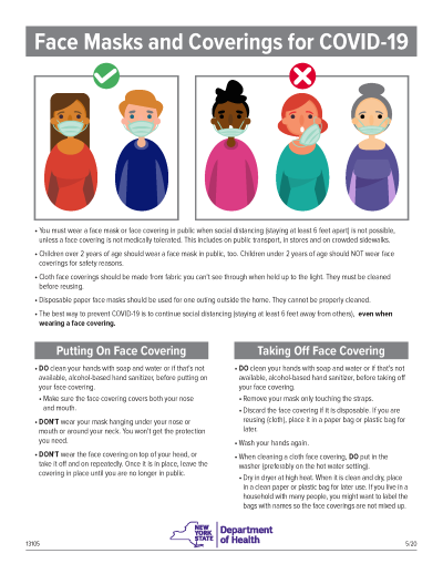 Image of a flyer about how to wear a face covering. NYSDOH