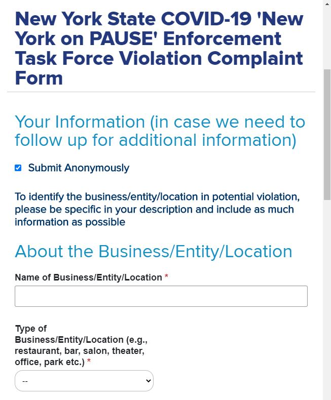 Image of the NYSDOH complaint form web page