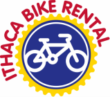 blue circle surrounded by a yellow chain with drawing of a white bicycle in the center; logo for Ithaca Bike Rental