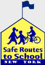 Smart Routes to School logo, yellow building outline with blue silhouettes of children inside