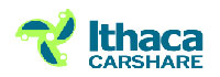Ithaca Carshare logo of three bright green cars drawn as a pinwheel