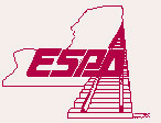 ESPA logo, red letters and a red drawing of a train track