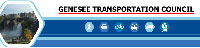 blue and white logo for Genesee Transportation Council