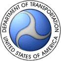 blue, grey, and white wheel-like logo for the United States Department of Transportation