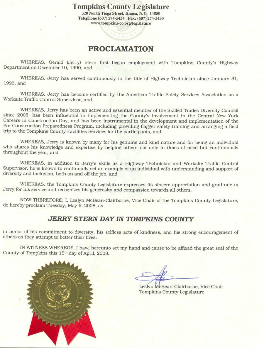 New york tompkins county ithaca 14850 -  Stern Day In Tompkins County In Honor Of Jerry S Commitment To Diversity His Selfless Acts Of Kindness And His Strong Encouragement Of Others As They