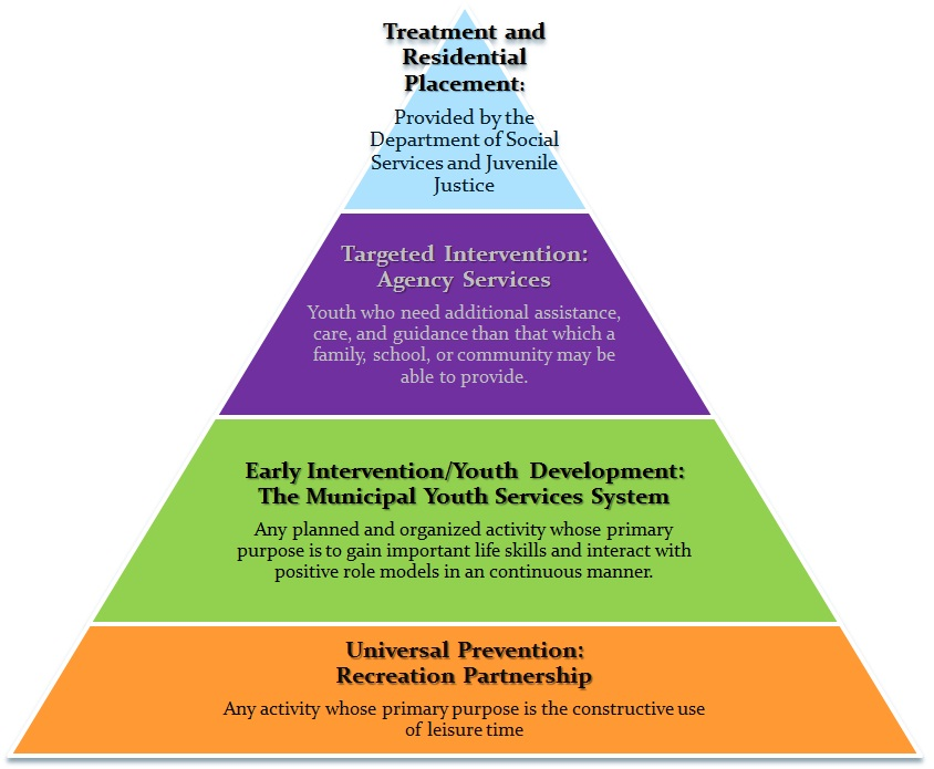 Pyramid of level of youth services programs